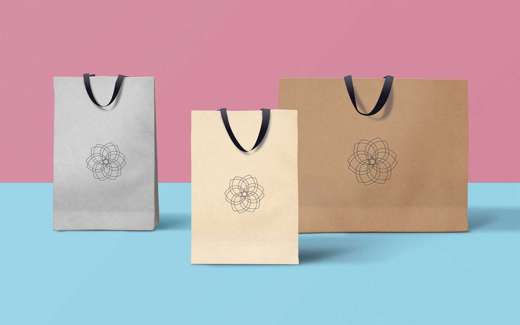 Concept branding of assorted paper bags